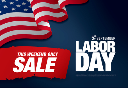 first day: Labor day sale. Vector template banner Illustration