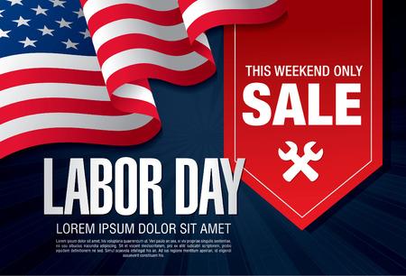 Labor day sale. Vector template banner Stock Illustratie