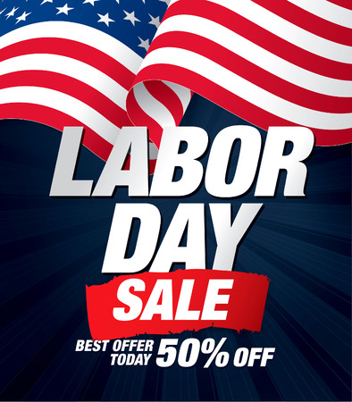 Labor day sale. Vector template banner Ilustrace