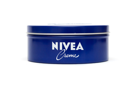 bank owned: RUSSIA - OCTOBER 11, 2015: Bank with a cream. Nivea brand owned by the German company Beiersdorf AG.