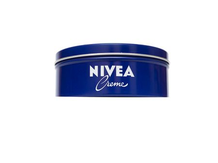 incorporated: RUSSIA - OCTOBER 11, 2015: Bank with a cream. Nivea brand owned by the German company Beiersdorf AG.