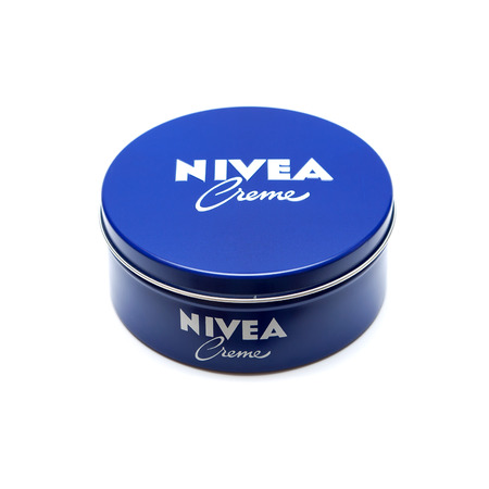 owned: RUSSIA - OCTOBER 11, 2015: Bank with a cream. Nivea brand owned by the German company Beiersdorf AG.