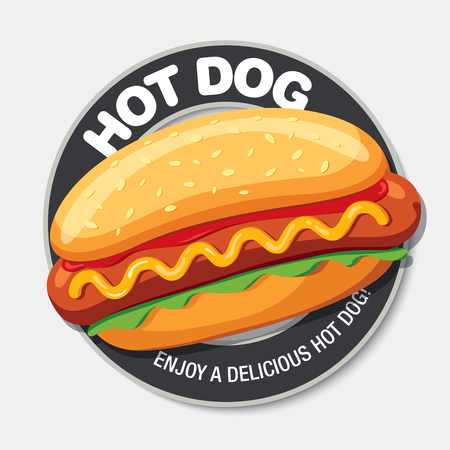 Hot Dog leckeres Essen. Vektor-Illustration