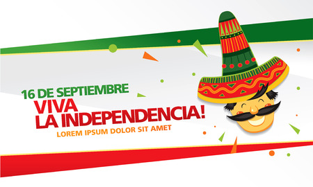 Mexican translation of the inscription: 16 th of September. Happy Independence day! Viva Mexico! Stock Illustratie