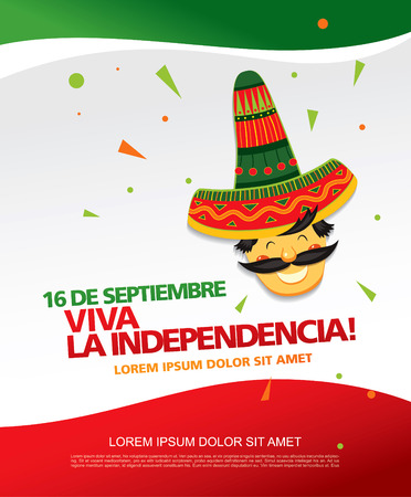 Mexican translation of the inscription: 16 th of September. Happy Independence day! Viva Mexico! Иллюстрация