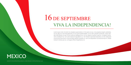 Mexican translation of the inscription: 16 th of September. Happy Independence day! Viva Mexico! Vectores