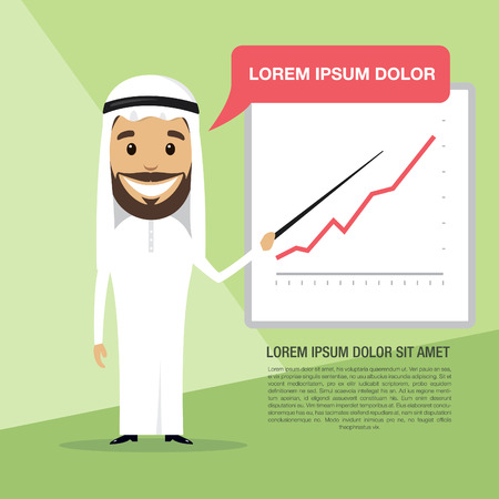 commend: Successful Arabic businessman with company schedule. Vector illustration