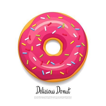 Bright delicious donut. Vector illustration