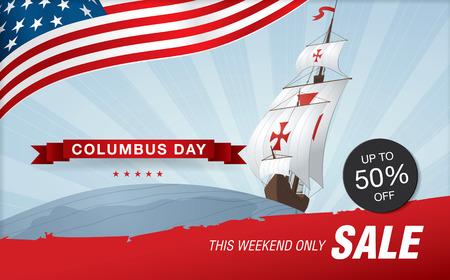 colombo: Columbus Day. Sale template banner