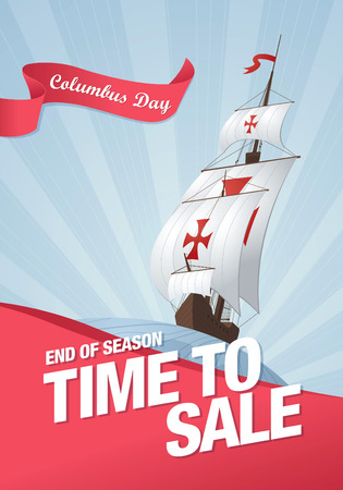 columbus: Columbus Day. Sale template banner