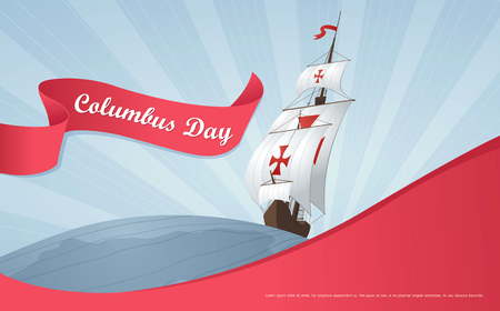 colombo: Happy Columbus Day. Vector illustration