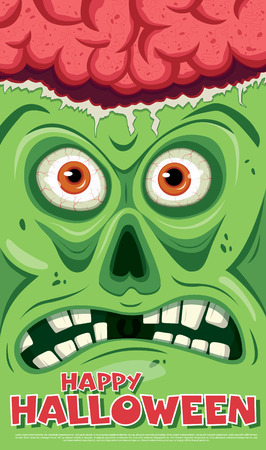 physiognomy: Ugly face with open brain. Vector illustration Illustration
