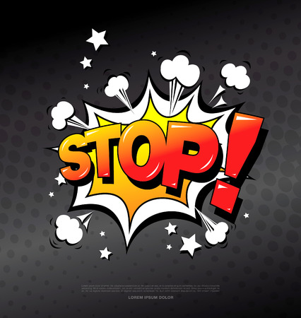 big screen: Stop! Speech bubble icon