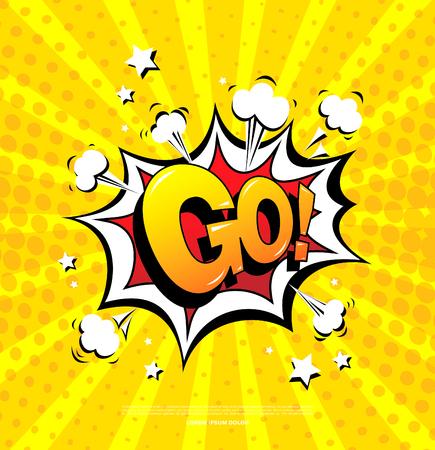 Gaan! Speech bubble icon Stock Illustratie