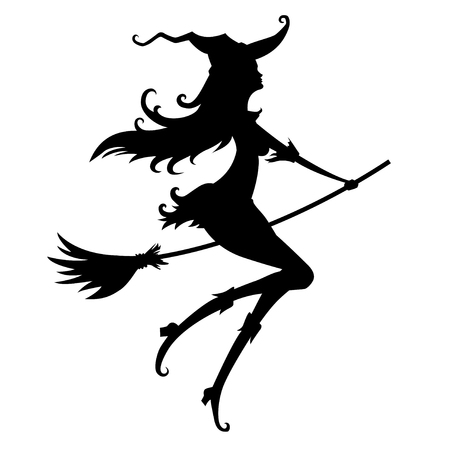 Silhouette of a young witch on a white background
