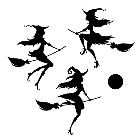 Set of a young witches on a white background