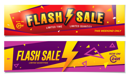 Flash sale banners template design Illustration