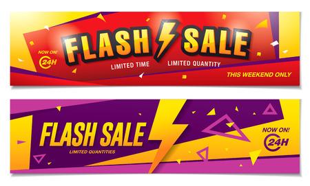 Flash verkoop banners sjabloon ontwerp Stock Illustratie