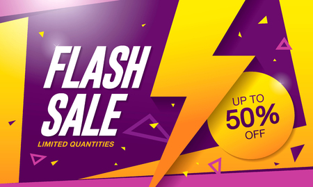 Flash sale banner template design Иллюстрация