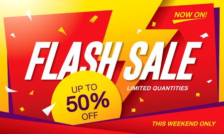 tally: Flash sale banner template design Illustration