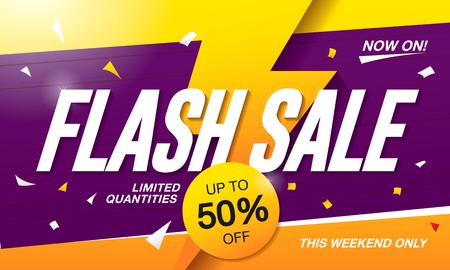stiker: Flash sale banner template design Illustration