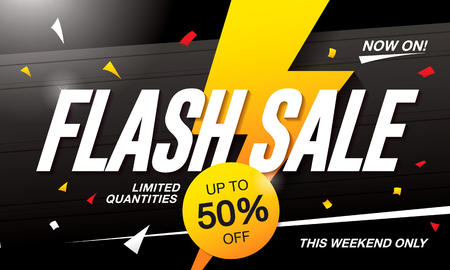 Flash sale banner template design 向量圖像