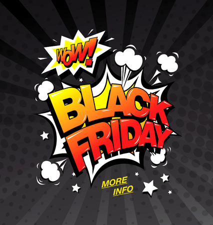 Black friday comic style banner, sale concept