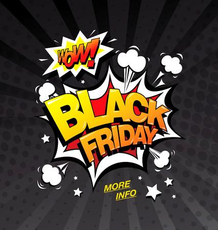 Viernes negro Bandera del estilo del cómic, el concepto de la venta