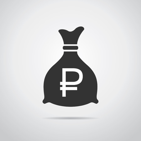 dept: Money bag icon. Ruble sign icon