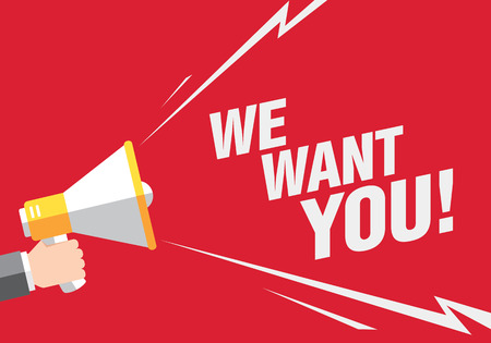 want: We want you! Hand holding megaphone
