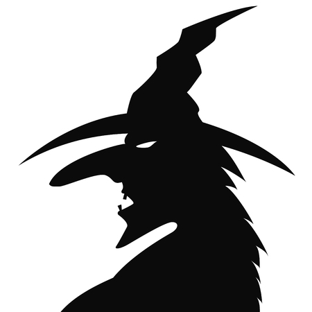 Silhouette of the head of the old witch isolated on a white background Illustration