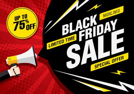 Black friday sale banner. Vector illustration Vettoriali