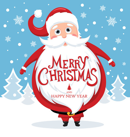 Santa Claus with Merry Christmas lettering for Holiday invitation and Greeting card.  illustration