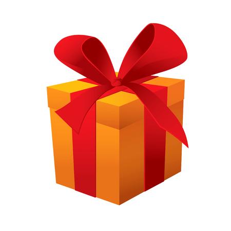 boxing day: Gift yellow box. Vector illustration
