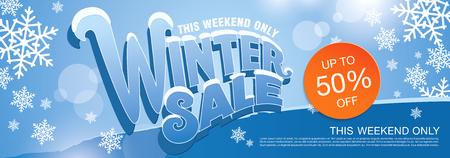 half price: Winter sale . illustration Illustration