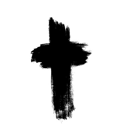 cross. Grunge cross. Cross made with brush stroke