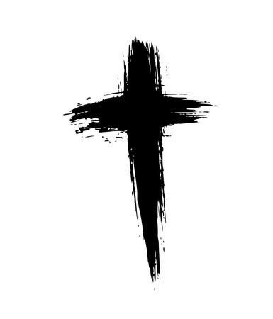 십자가. 그런 지 크로스. 브러시 획으로 만든 십자가 일러스트