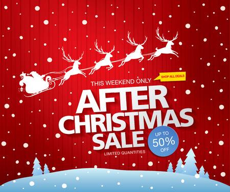 after: After christmas sale. Vector illustration