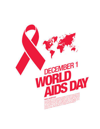 deficiency: December 1. World AIDS Day poster. Awareness ribbon. Vector illustration