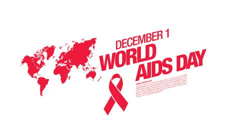 aids awareness ribbon: December 1. World AIDS Day poster. Awareness ribbon. Vector illustration