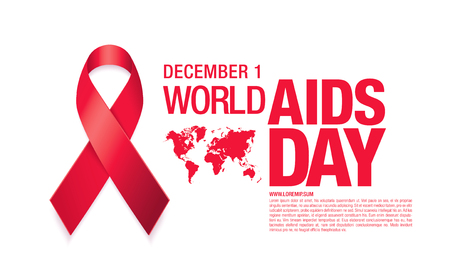 December 1. World AIDS Day poster. Awareness ribbon. Vector illustration