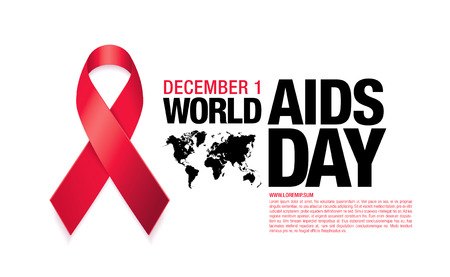 aids awareness ribbon: December 1. World AIDS Day poster. Awareness ribbon. Vector illustration