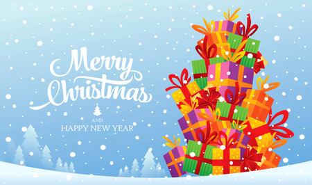 Christmas greeting card. Merry Christmas and happy new year Illustration