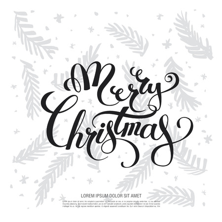 post scripts: Christmas greeting card. Merry Christmas and happy new year Illustration