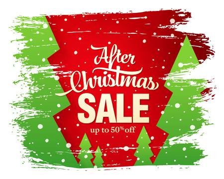 After Christmas sale banner, vector illustration