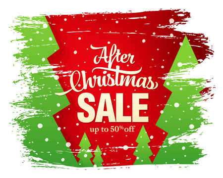 After Christmas sale banner, vector illustration