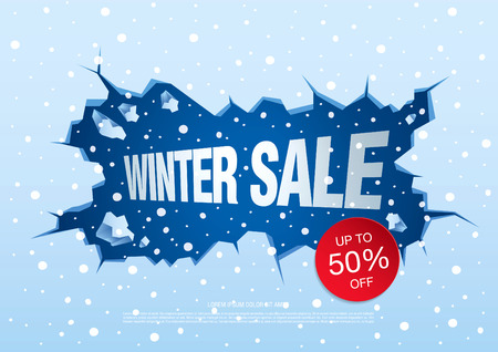 tally: Winter sale banner, vector illustration