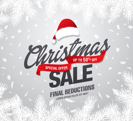 Christmas sale banner, vector illustration