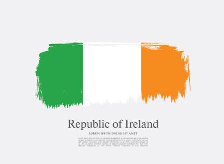 ireland flag: Flag of Ireland, brush stroke background Illustration