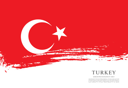 Flag of Turkey, brush stroke background Vector Illustration